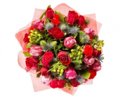 depositphotos 83825616 stock photo bouquet of flowers top view